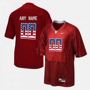US Flag Fashion Alabama Customized Jerseys Red For Men's #00