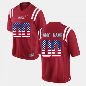 US Flag Fashion #00 Ole Miss Customized Jersey Men Red