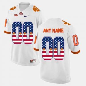 Men Clemson Custom Jersey #00 White US Flag Fashion