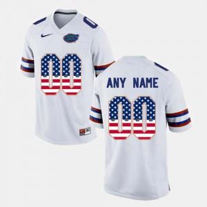 Gators Custom Jersey Men's US Flag Fashion White #00
