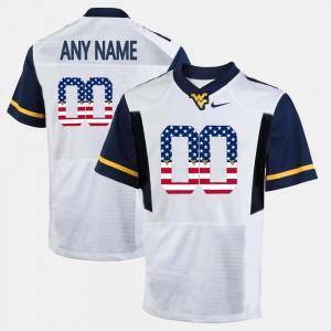 WVU Custom Jerseys White US Flag Fashion For Men #00