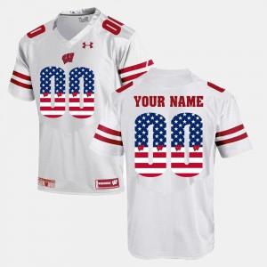US Flag Fashion Men's #00 Wisconsin Customized Jersey White