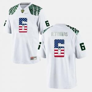 Mens White US Flag Fashion #6 De'Anthony Thomas Oregon Jersey
