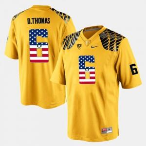 De'Anthony Thomas Oregon Jersey Yellow For Men's #6 US Flag Fashion
