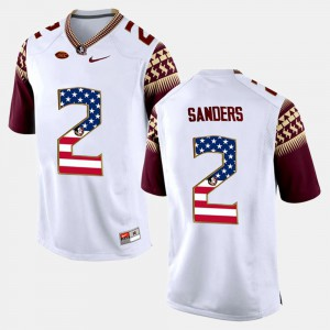 US Flag Fashion Deion Sanders FSU Jersey White For Men's #2