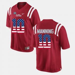 Men US Flag Fashion #10 Eli Manning Ole Miss Jersey Red