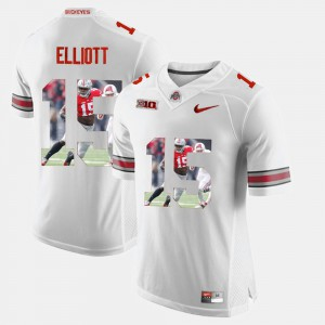 Ezekiel Elliott OSU Jersey White Pictorial Fashion #15 For Men's