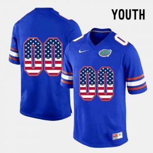 Gators Customized Jerseys Blue For Kids #00 US Flag Fashion