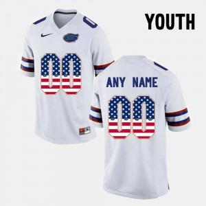 White #00 Gators Custom Jerseys US Flag Fashion For Kids