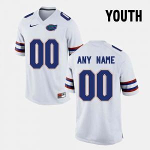 Youth White #00 FSU Custom Jersey College Limited Football
