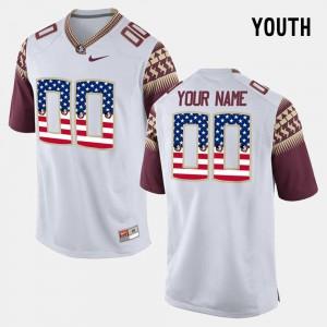 US Flag Fashion #00 Youth FSU Custom Jersey White