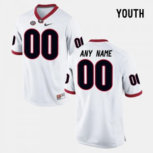 For Kids #00 UGA Customized Jerseys College Limited Football White
