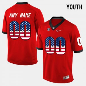 Red Youth #00 US Flag Fashion UGA Customized Jerseys