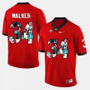 Mens #34 Herschel Walker UGA Jersey Red Player Pictorial