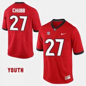 #27 Nick Chubb UGA Jersey Youth(Kids) Red College Football