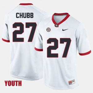 #27 Youth College Football White Nick Chubb UGA Jersey