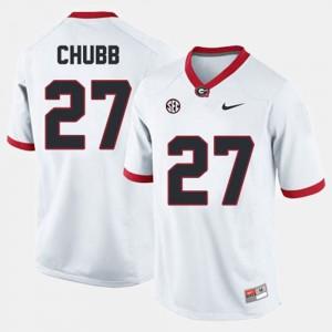 Nick Chubb UGA Jersey White #27 College Football For Men