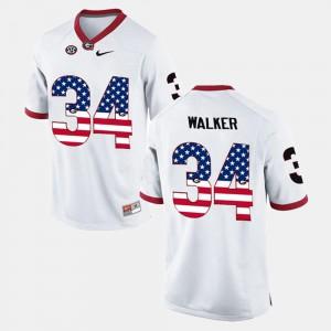 US Flag Fashion Men White Herschel Walker UGA Jersey #34