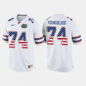 Mens White #74 US Flag Fashion Jack Youngblood Gators Jersey