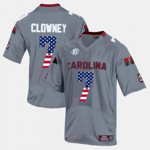 For Men's Gray US Flag Fashion Jadeveon Clowney South Carolina Jersey #7