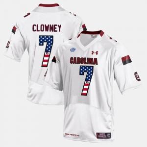 US Flag Fashion #7 Jadeveon Clowney South Carolina Jersey White Mens