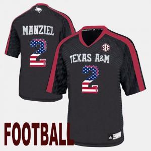 Men's Johnny Manziel Texas A&M Jersey US Flag Fashion #2 Black