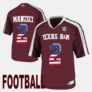 Johnny Manziel Texas A&M Jersey For Men US Flag Fashion #2 Maroon