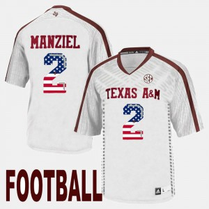 White US Flag Fashion Johnny Manziel Texas A&M Jersey For Men #2