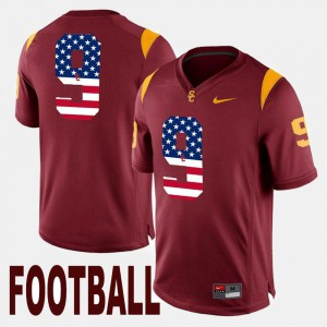 For Men's #9 Maroon JuJu Smith-Schuster USC Jersey US Flag Fashion