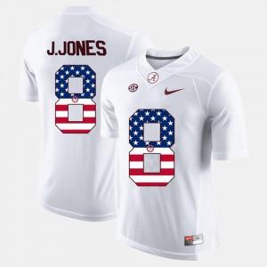 #8 White US Flag Fashion Julio Jones Alabama Jersey For Men's