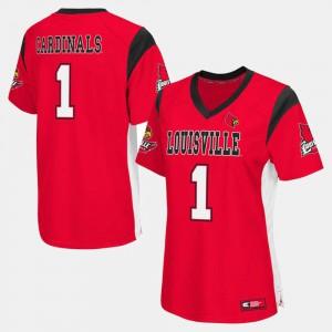Red Women's #1 College Football Louisville Jersey