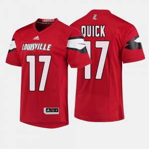 #17 College Football Red James Quick Louisville Jersey For Men
