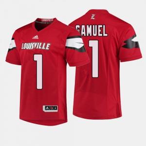 #1 Red College Football Traveon Samuel Louisville Jersey Men