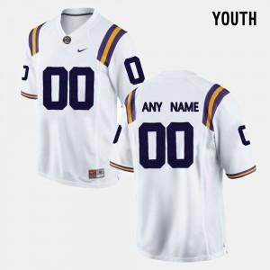 Youth(Kids) #00 White LSU Customized Jerseys College Limited Football