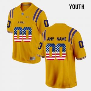 #00 Gold For Kids LSU Custom Jerseys US Flag Fashion