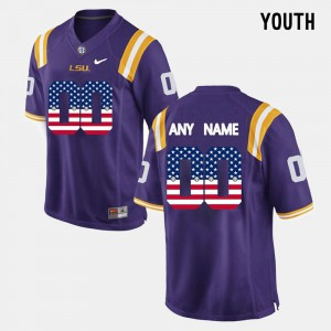 US Flag Fashion #00 Purple Youth(Kids) LSU Custom Jersey