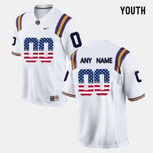 #00 LSU Custom Jerseys US Flag Fashion Youth(Kids) White