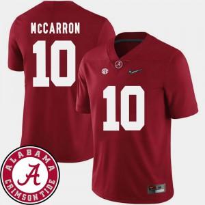Crimson #10 2018 SEC Patch College Football AJ McCarron Alabama Jersey Men