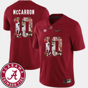 Crimson AJ McCarron Alabama Jersey For Men's #10 Football Pictorial Fashion