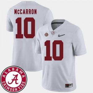 Men's College Football #10 White 2018 SEC Patch AJ McCarron Alabama Jersey