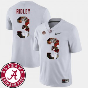 Football Men's Calvin Ridley Alabama Jersey White Pictorial Fashion #3