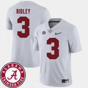 College Football White Mens #3 Calvin Ridley Alabama Jersey 2018 SEC Patch