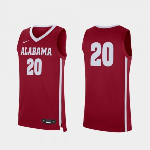 Replica College Basketball #20 Alabama Jersey For Men's Crimson