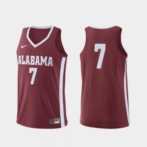 College Basketball #7 Alabama Jersey Replica Crimson Men
