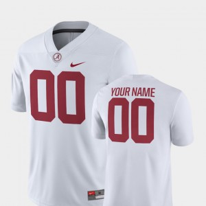 White #00 College Football 2018 Game For Men's Alabama Custom Jersey