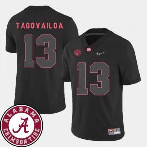 #13 Black College Football Tua Tagovailoa Alabama Jersey 2018 SEC Patch Men