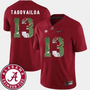 Crimson #13 Tua Tagovailoa Alabama Jersey Football Mens Pictorial Fashion