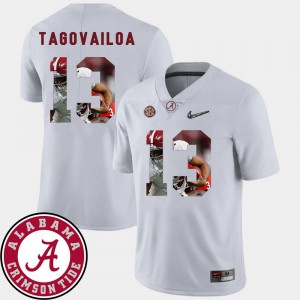 #13 Football Pictorial Fashion Men's White Tua Tagovailoa Alabama Jersey
