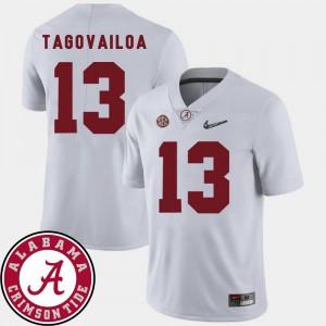 Mens Tua Tagovailoa Alabama Jersey White College Football #13 2018 SEC Patch