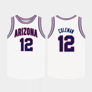 #12 Mens College Basketball White Justin Coleman Arizona Jersey